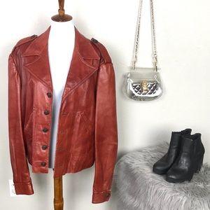 Vintage 1970's Carnit Red genuine leather jacket